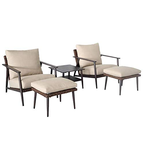 N/Z Daily Equipment 3 Pcs Rattan Wicker Rocking Bistro Set Coffee Tea Table and 2 Rocking Chairs for Outdoor Garden Patio Porch