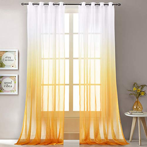 LoyoLady Yellow Sheer Curtains 96 Inch Length 2 Panels Grommet Top Ombre Curtains for Kids Bedroom 52' W x 96' L
