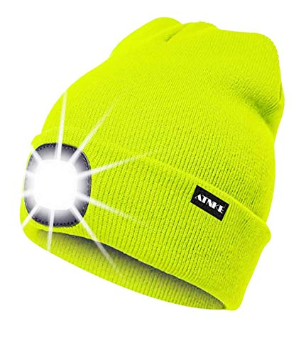 ATNKE LED Lighted Beanie Cap, USB Rechargeable Running Hat Ultra Bright 4 LED Waterproof Light Lamp and Flashing Alarm Headlamp Multi-Color/Jaune Fluorescent
