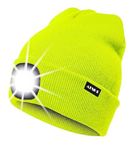 ATNKE Gorra de Goma con luz LED, USB Recargable Running Hat -...