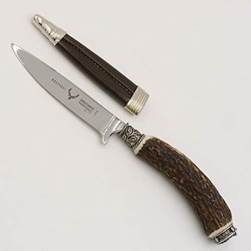 GTK - Geweihe & Trophäen KRUMHOLZ Cuchillo de caza con funda de piel, cuchillo de caza, cazador, ciervo, cuerno de ciervo, mango con tapa y hojas de roble, longitud 23 cm #27.20.5.4
