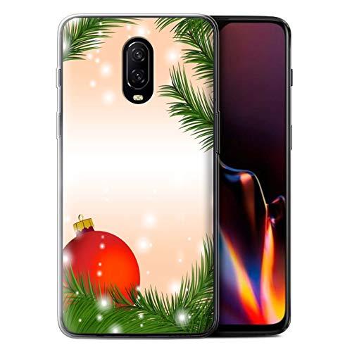 Stuff4 beschermhoes/cover/behuizing/gel/TPU/protetetiva bedrukt met motief kerstdecoratie voor OnePlus 6T - Bagzadella/boom