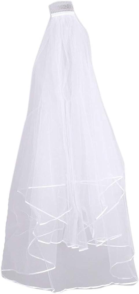 Elifemona Sexy 2 Tier Tulle Bridal Veil for Wedding Halloween Cosplay Veils Comb