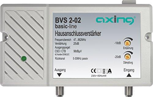 Axing BVS 2-02 Hausanschlussverstärker 25 dB für Kabelfernsehen digital (47-862 MHz, Rückkanal 5-30 MHz)