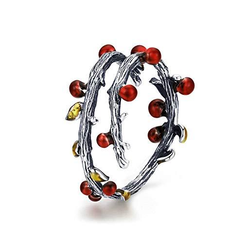 JIARU Anillo de plata de ley 925 para mujer, anillo ajustable, anillo simple y de colores de otoño, anillos para niña