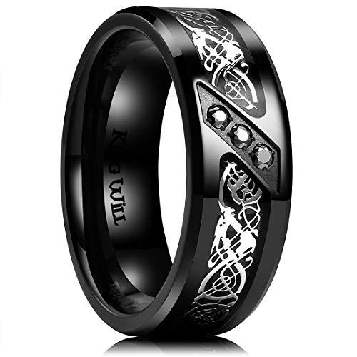 King Will GEM 8mm Black Fiber Paper with Zircon inlay Titanium Ring Comfort Fit Wedding Band 9.5