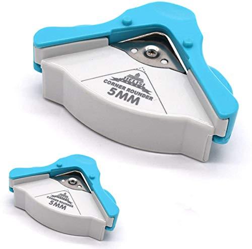 Eckenrunder Eckenschneider,Xiuyer 2 Stück 5mm Corner Cutter für Laminierfolien Papier Foto Karten Scrapbooking Handwerk DIY Runde Corner Punch Werkzeug(Blau, 7.5x7.5x3.5cm)