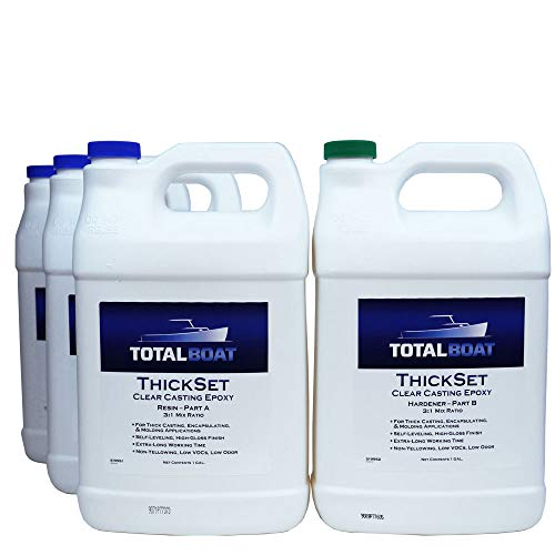 TotalBoat Thickset Deep Pour Epoxy (4 Gallon Kit) | Clear Gloss Pourable Casting Resin Kit | for Art, Epoxy River Tables, Live Edge Slabs, Molds, Wood Voids