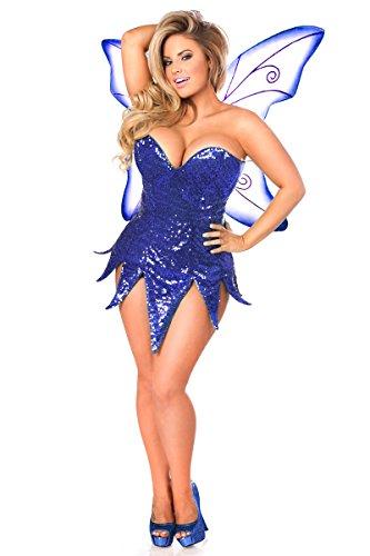 Daisy Korsetts Damen Top Schublade Plus Size Blau Pailletten Fee Korsett Kleid Kostüm - Blau - 5X