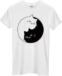 Howely Women Short Sleeves Crewneck Top Cotton Yin Yang Cats Kittens T-Shirt