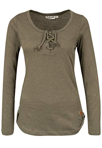 Sublevel Damen Basic Langarm-Shirt mit Kordeln Rundhals Green L