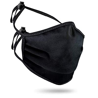 Purian Black Tie Behind Mask with Cord Locks For All Day Use