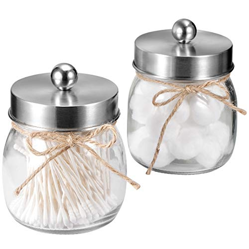 SheeChung Apothecary Jars Set,Mason Jar Decor Bathroom Vanity Storage Organizer Canister,Glass Qtip Holder Dispenser for Qtips,Cotton Swabs,Ball - Stainless Steel Lid/Brushed Nickel (2-Pack)