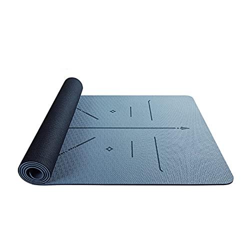 Esterilla Deporte Antideslizante con Material ecológico TPE, Yoga Mat diseñado para Entrenamiento físico con Bolsa con Línea de Posición Corporal, 183cm x 80cm x 0.6cm / C