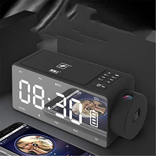 WANDE S91S Altavoz Despertador, Creadora De Cabecera Altavoz Inteligente, Inteligente De Carga Inalámbrica Despertador Digital, La Proyección del Reloj del Altavoz,Negro