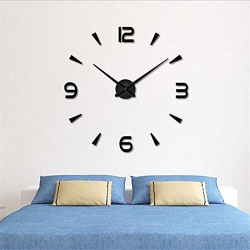 Relojes de Pared Pegatina,Relojes Modernos DIY,Reloj de Pared Adhesivo Reloj de Etiqueta de Pared Decoración,llenado Pared Vacía 3D Reloj, Ideal para la Casa Oficina Hotel Restaurante (04-Negro)