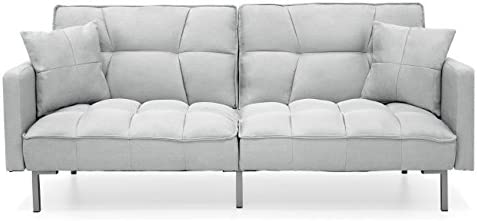Best Best Choice Products Convertible Linen Splitback Futon Sofa Couch Furniture w/Tufted Fabric, Pillows