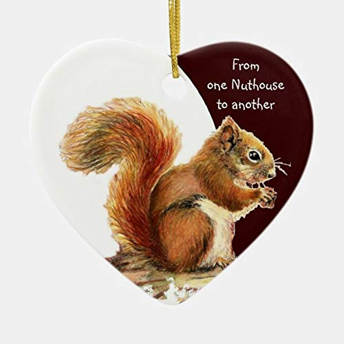 from One Nuthouse To Another Fun Squirrel Humor Ceramic Ornament 3' Ceramic Christmas Ornament Xmas Tree Decor Two-Sides Printed