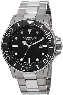 ساعة يد للرجال بسوار من الستانلس ستيل ومينا باللون الاسود من اكريبوس XXIV - [طراز AK674SSB] انالوج