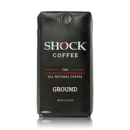 Shock Coffee Ground. The Strongest Caffeinated All Natural Coffee. Up to 50% more caffeine than regular coffee.