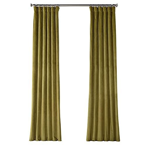 HPD Half Price Drapes VPYC-161224-84 Plush Velvet Curtain (1 Panel), 50 X 84, Retro Green