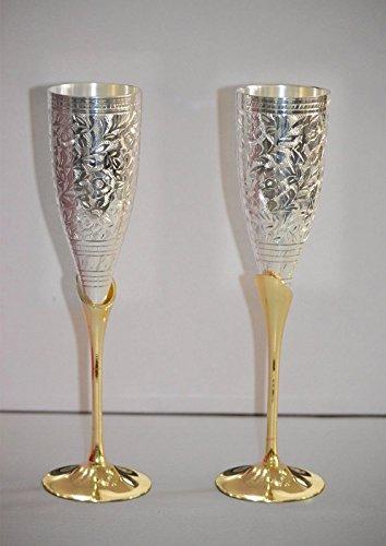 Avs Stores ® Copas de champán chapadas en plata grabadas de latón...