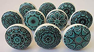 Aqua Green Vintage Look Flower Ceramic Knobs Door Handle Cabinet Drawer Cupboard Pull Mandala Xfer New by JGARTS (10)