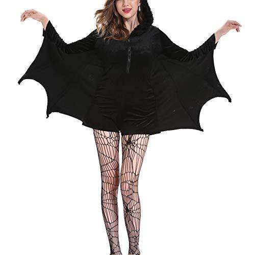 para Mujer del Traje de murcilago Vampiro, Mujer del Traje de Batman Disfraces de Halloween Cosplay Sexy M