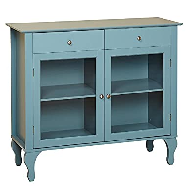 Target Marketing Systems Layla Collection Modern Antique Style Two Drawer, Two Cabinet Two Shelf Buffet With Tempered Glass, Blue