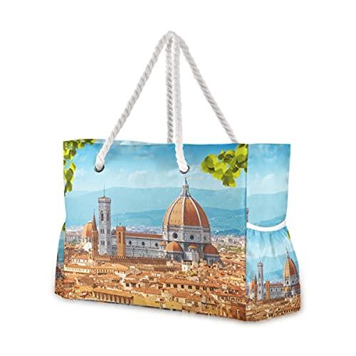 Große Strandtaschen Totes Canvas Tote Schultertasche Italien Toskana wasserabweisend Taschen für Fitnessstudio Reisen Alltag