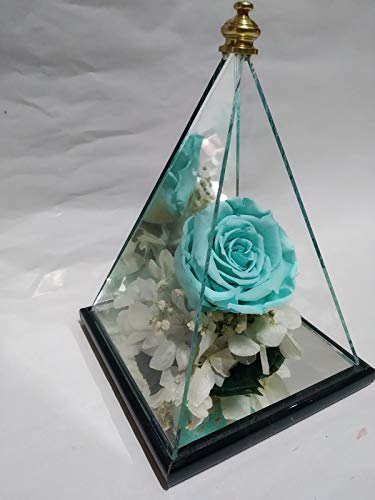 eternaflor Ewige Rose, Türkis Gratis Versand: Pyramide Spiegel mit 20 cm Höhe und ewige Rose, türkisblau, 6 cm mit handgefertigten Endstücken, gefriertem Moos und konservierten Blumen