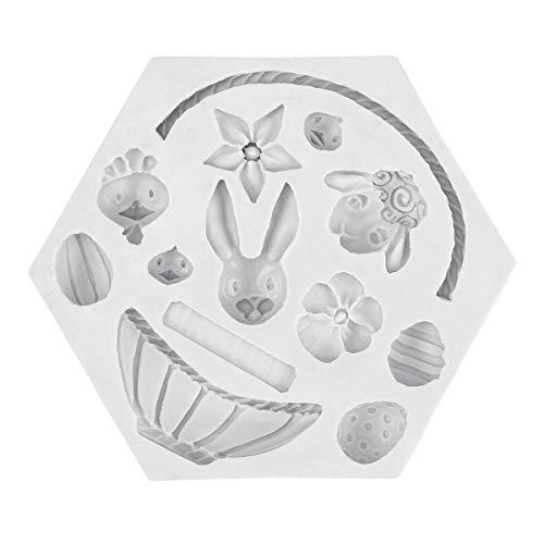 Amosfun - Stampi da forno in silicone per Pasqua, coniglio, pulcino, cioccolatini, caramelle, sapone, candele, Silicone, Gray White, 12 x 12 x 1.5cm