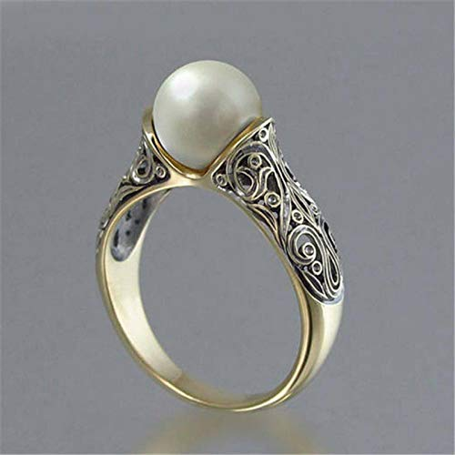 Janly Clearance Sale Women Rings , Vintage Ring Sculpted Antique Gold Pearl Bride Wedding Engagement Rings , Valentine's Day Birthday Jewelry Gifts for Ladies Girls (5)