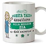 Mugffins Zia Tazza/Mug - Questa Tazza Appartiene alla Miglior Zia dell'Universo - Idea Regalo Originale di Compleanno - Tazza Migliore Zia in Ceramica