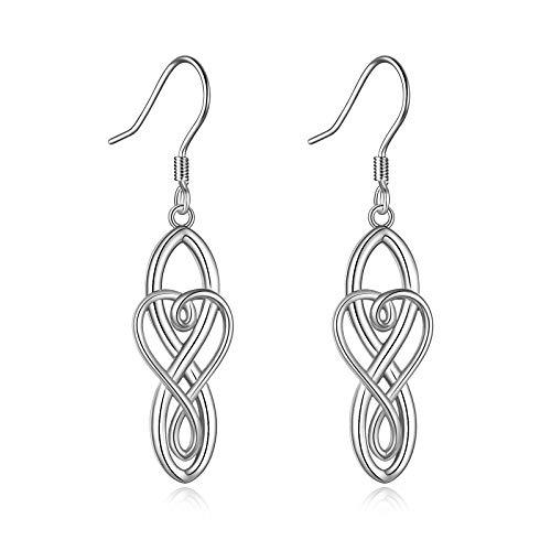 YFN 925 Sterling Silver Celtic Knot Dangle Earrings Good Luck Irish Celtic Knot Vintage Dangles for Women (Silver Earrings)