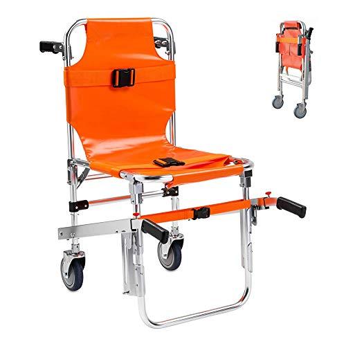 WSN Escalera Silla Médica Camilla, Silla de Escalera elevadora Aluminio Plegable de evacuación médica + 3 Correas Ajustables con Hebillas liberación rápida Bombero, Paciente de Transporte Ambulan