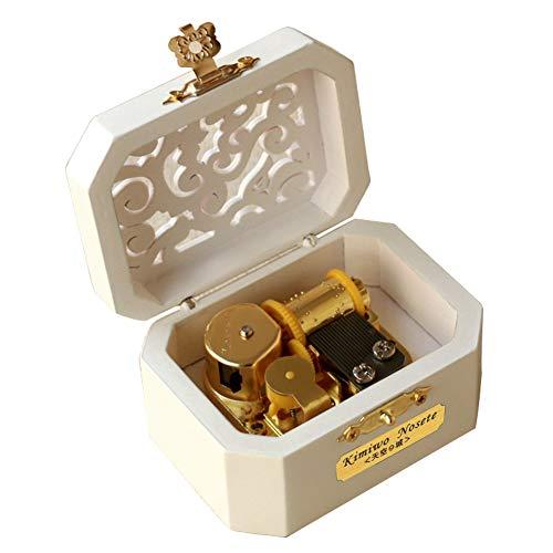 Youtang Boîte à musique en bois avec mécanisme à 18 notes - Boîte à musique créative - Boîte à musique en bois - Jouer au service de livraison de Kiki (blanc, mouvement doré)