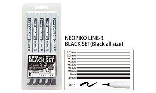 Deleter Neopiko Line 3 Manga Comic Pen - Black All Size Set