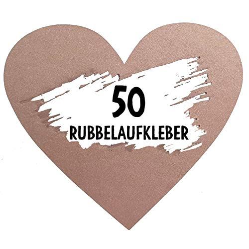 50 Rubbel Etiketten Herzen Rosa zum Basteln von Rubbelkarten Rubbellose Überraschungen Gutscheinkarten Einladungen Hochzeit oder Verkündung von Schwangerschaft