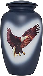 Liliane Memorials Blue American Bald Eagle Funeral Cremation Urn Patriotic Audaz Model in Aluminum for Human Ashes; Suitable for Cemetery Burial; Fits Remains of Adults up to 200 lbs, Large/200 lb,