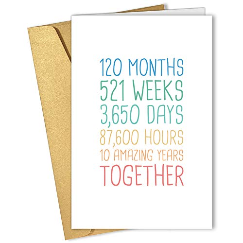 10th Anniversary Card, Funny 10 Years Wedding Anniversary Card, Tenth...