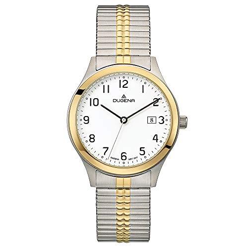 DUGENA Herren-Armbanduhr Bari, Quarz, Edelstahlgehäuse, Mineralglas, Edelstahl-Zugband, 5 bar (Mehrfarbig/weiß)