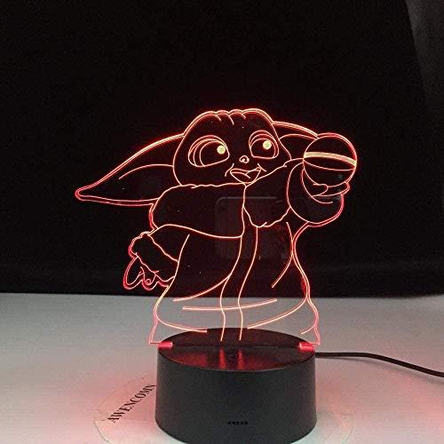 3D-Illusionslampe Star Wars Yoda Mimu Figur Mini Yoda7 Farben Touch Acryl Schlafzimmer Zimmer Baby Geschenk Spielzeug Dekoration Kinder Geburtstag Dekor Licht-16 colors remote
