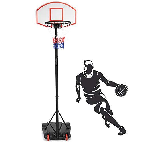 DREAMADE Basketballkorb mit Ständer für Kinder, Basketballständer höhenverstellbar, Basketballanlage Basketball Korbanlage für Indoor und Outdoor