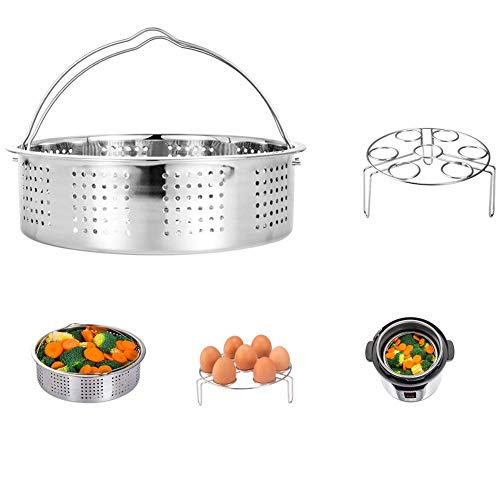 HapWay Stainless Steel Steamer Basket with Egg Steam Rack Trivet Compatible with Instant Pot 5,6 qt Electric Pressure Cooker