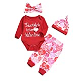 4PCS Valentine's Day Outfit Baby Girl Boy Infants My First Valentine's Day Long Sleeve Romper Pants Hat Headband Set (Daddy's Little Valentine, 0-3 Months)