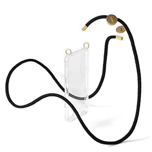 KNOK Abnehmbare Handykette Kompatibel mit Apple iPhone X/XS - Silikon Hülle mit Band zum Wechseln - Handyhülle für Smartphone zum Umhängen - Schutzhülle mit Kordel mit Schnur in Schwarz