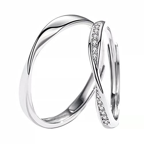 FORMIRAI ペアリング 2個セット カップル 人気 レディース メンズ リング シルバー925 ジルコニア 婚約指輪 結婚指輪 フリーサイズ ジュエリーボックス付き