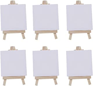 NUOBESTY Mini Canvas Easel Set Small Stretched Blank Canvas Panels Board Wood Easels for Kids Oil Painting Craft Drawing A...