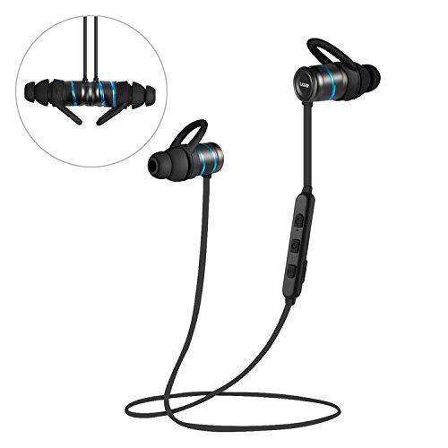 leshp Bluetooth 4.1Auriculares inalámbricos en Oreja Auriculares Deportivos con micrófono y Control de Voz